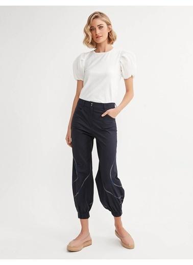 BGN Süs Dikişli Rahat Kesım Pamuklu Pantolon Lacivert